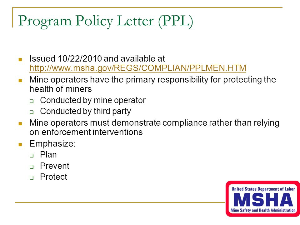 Program Policy Letter (PPL)