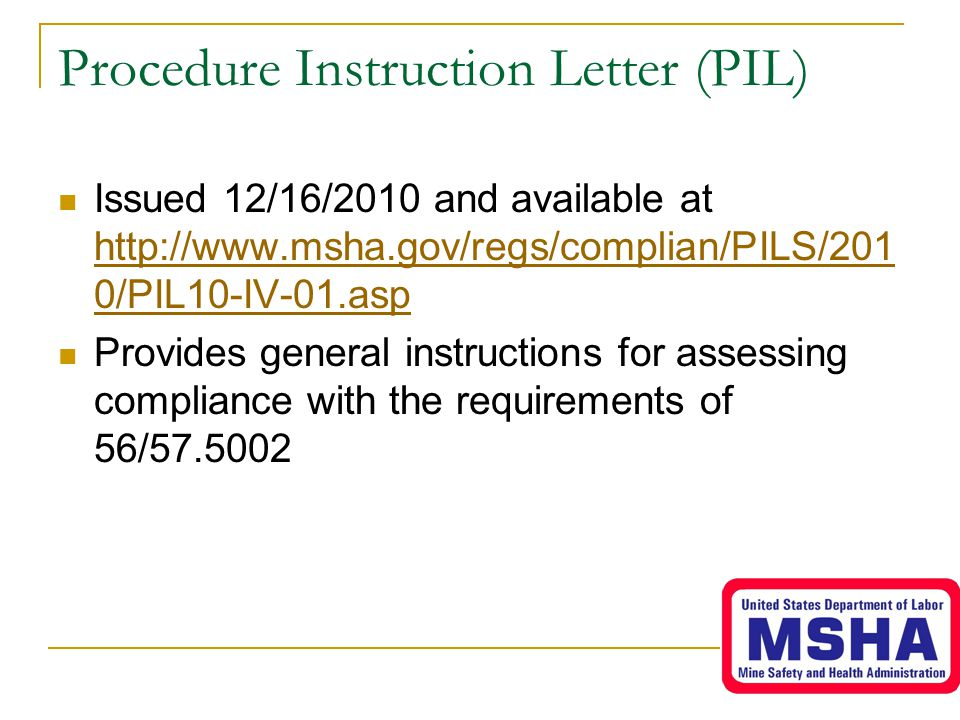 Procedure Instruction Letter (PIL)