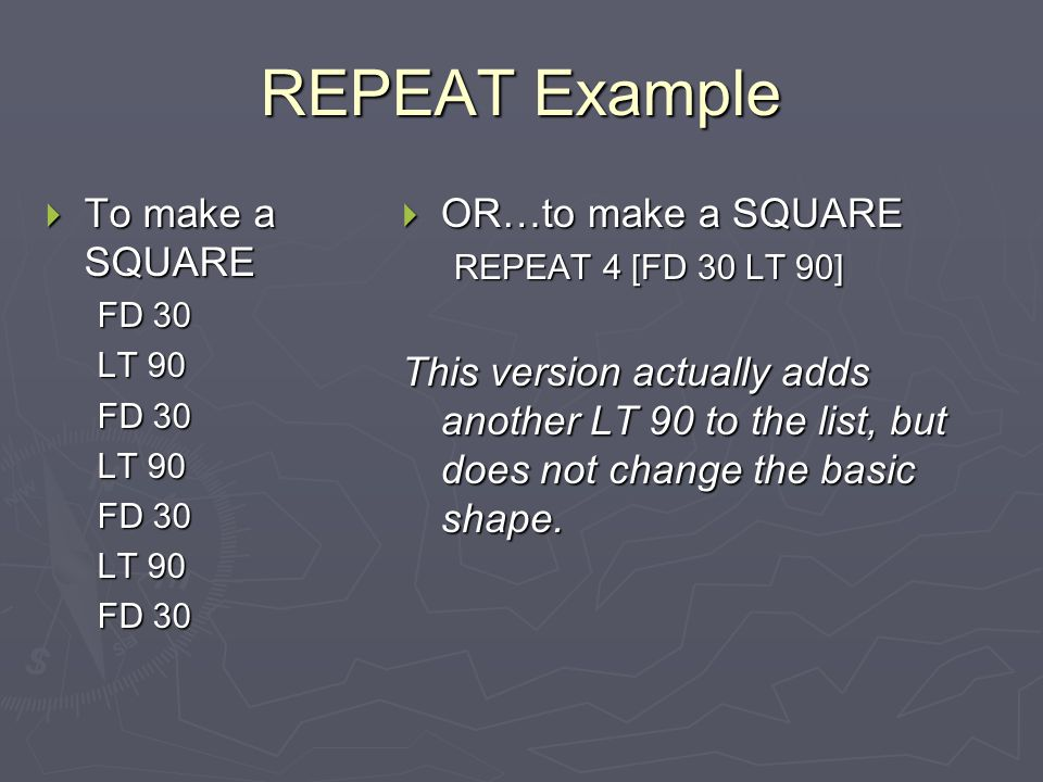 REPEAT Example To make a SQUARE OR…to make a SQUARE