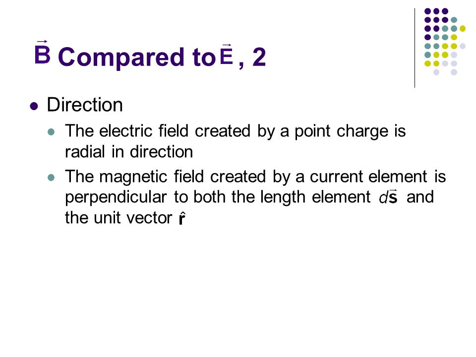 Compared to , 2 Direction. The electric field created by a point charge is radial in direction.