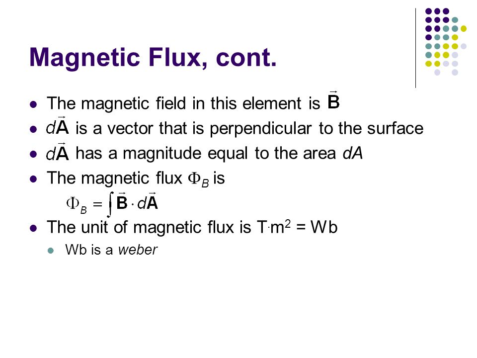 Magnetic Flux, cont. The magnetic field in this element is
