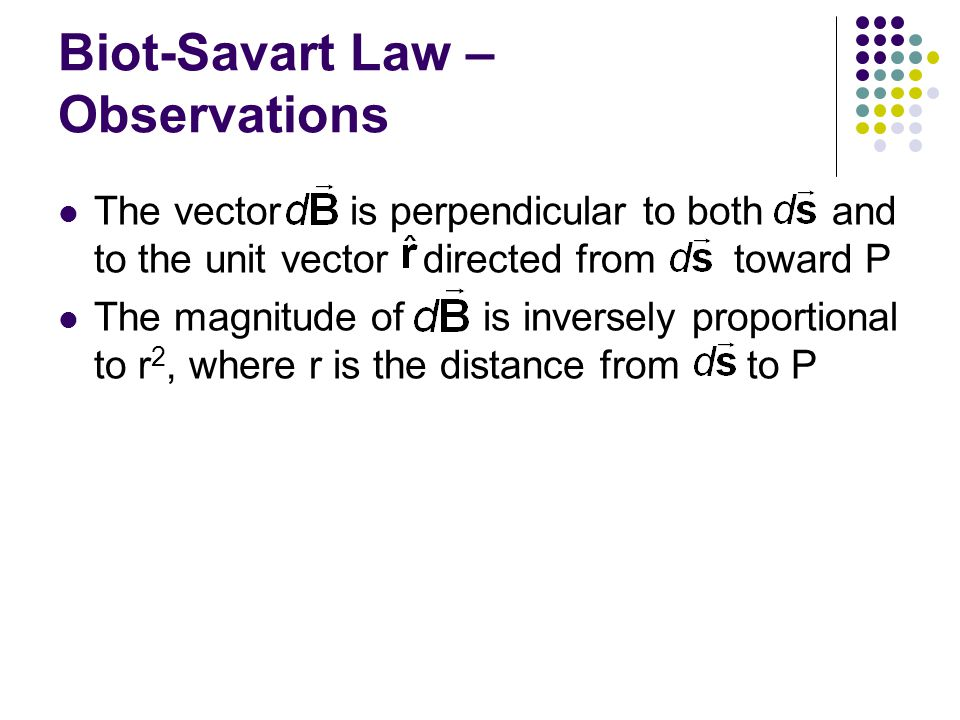 Biot-Savart Law – Observations
