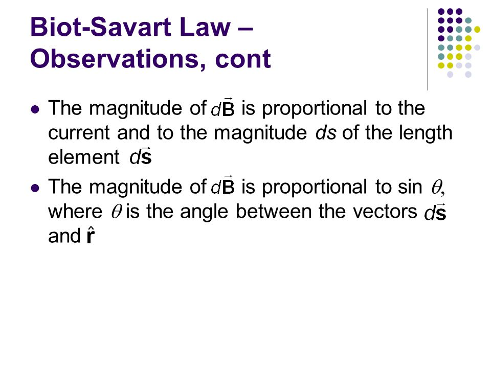 Biot-Savart Law – Observations, cont