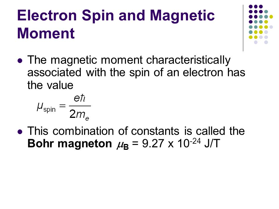 Electron Spin and Magnetic Moment