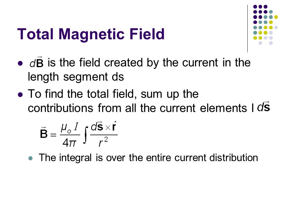 Total Magnetic Field is the field created by the current in the length segment ds.