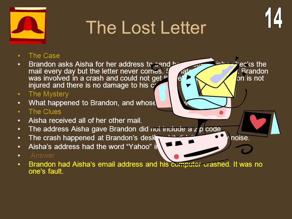 The Lost Letter 14 The Case