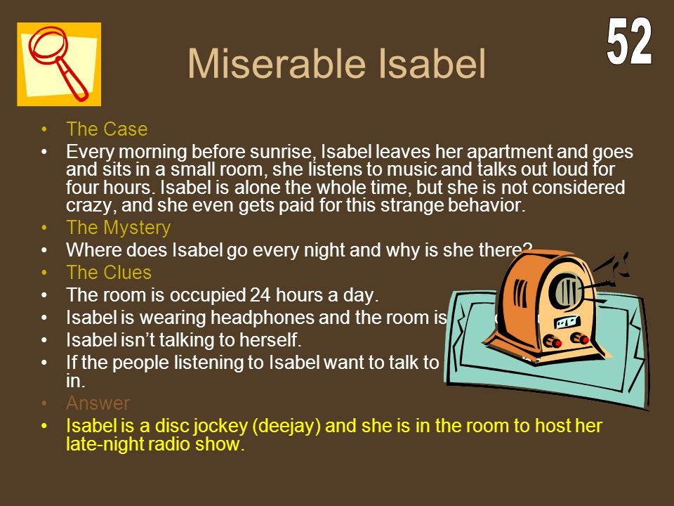 Miserable Isabel 52 The Case