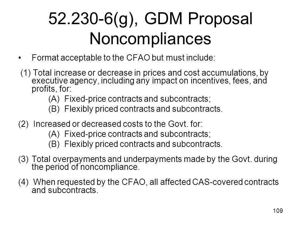 52.230-6(g), GDM Proposal Noncompliances