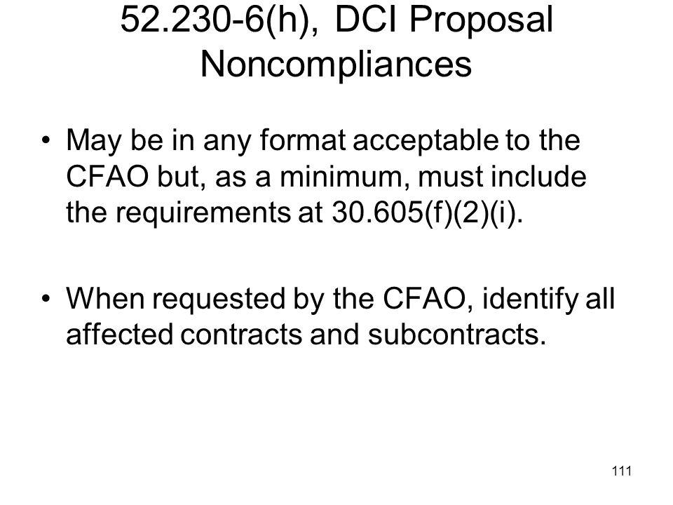 52.230-6(h), DCI Proposal Noncompliances