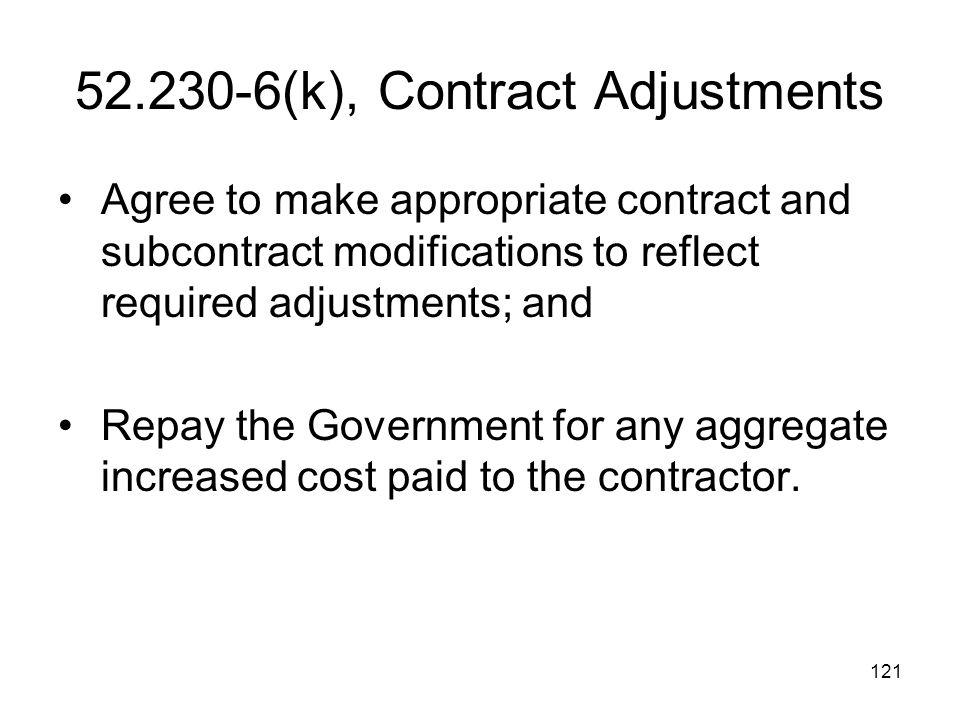 52.230-6(k), Contract Adjustments
