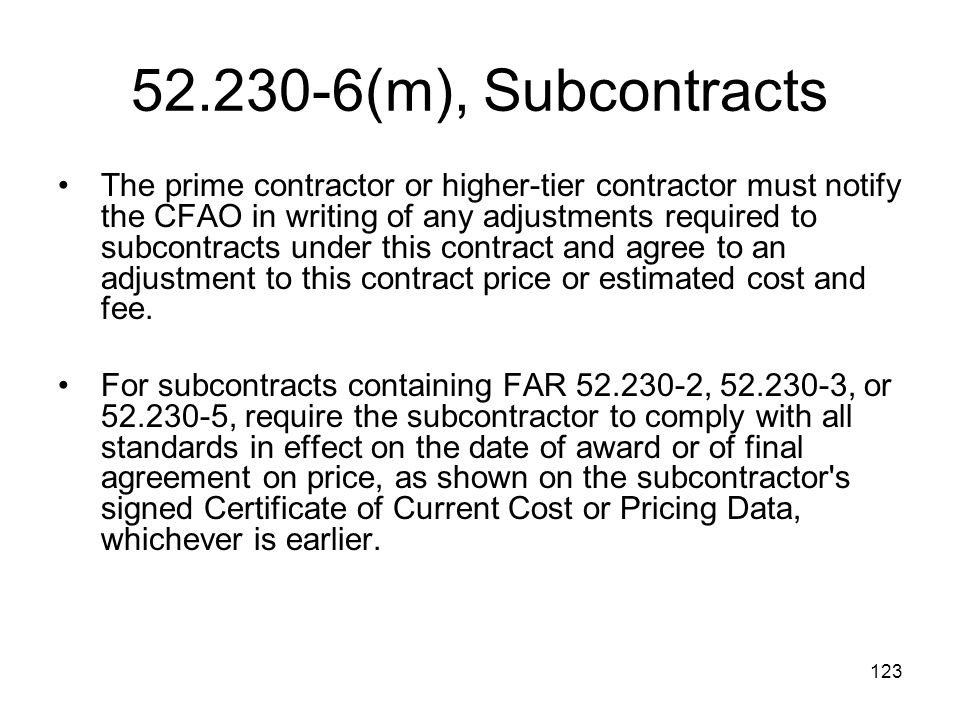 52.230-6(m), Subcontracts