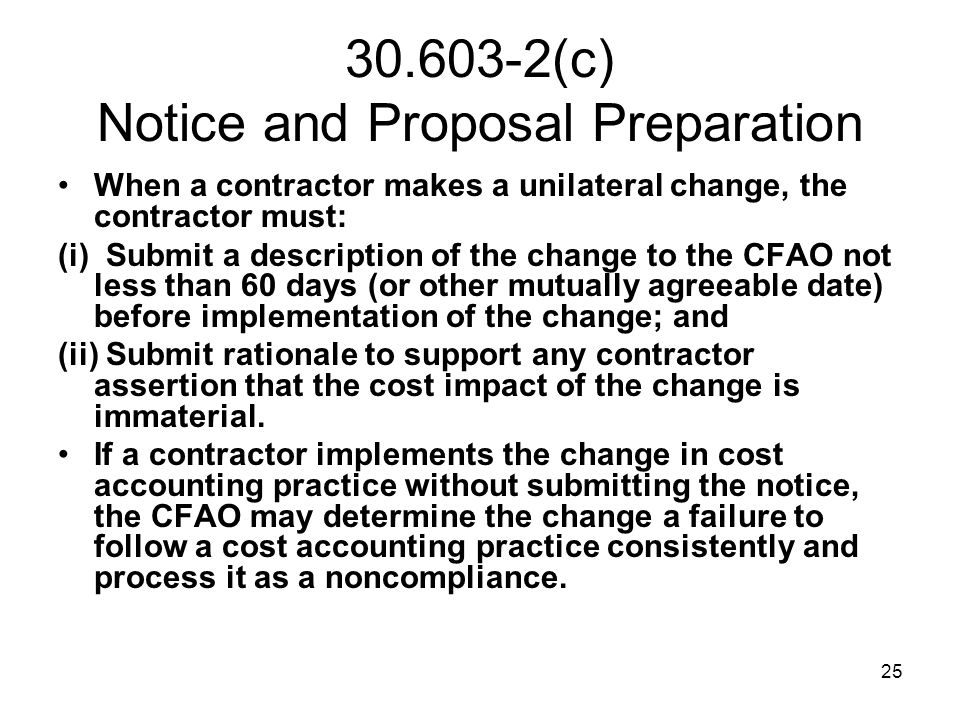 30.603-2(c) Notice and Proposal Preparation