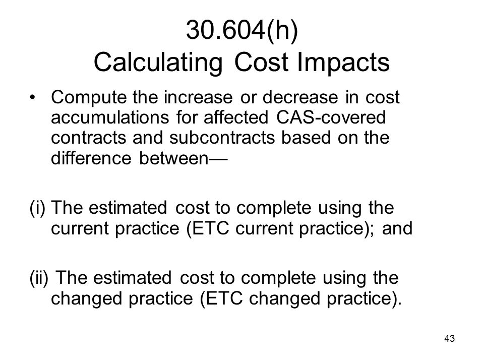 30.604(h) Calculating Cost Impacts