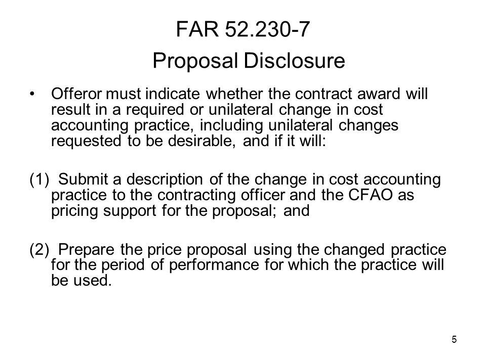 FAR 52.230-7 Proposal Disclosure