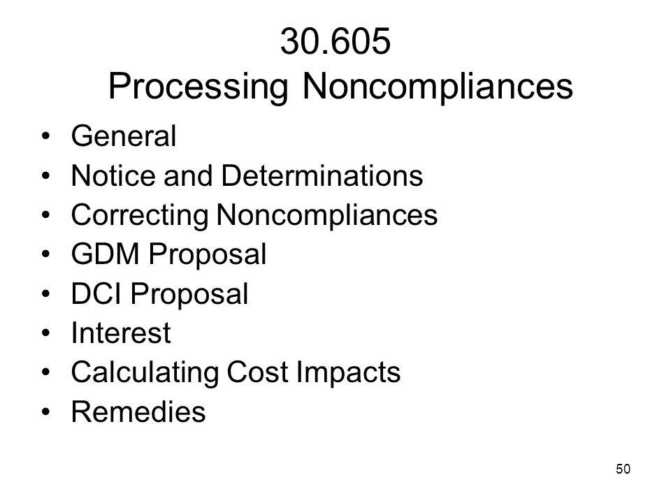 30.605 Processing Noncompliances
