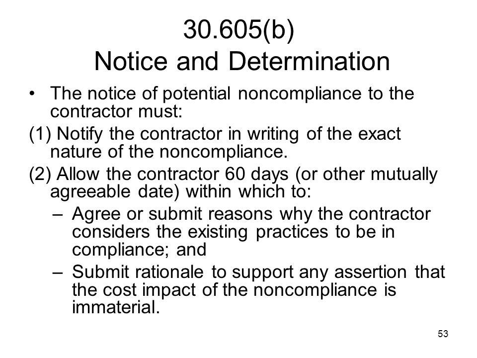 30.605(b) Notice and Determination