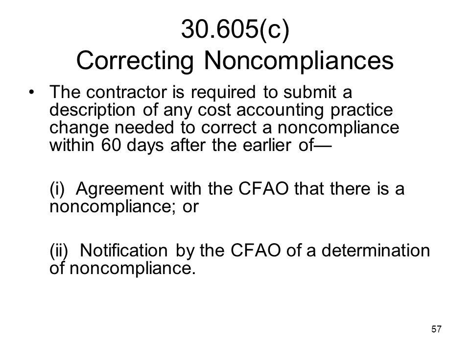 30.605(c) Correcting Noncompliances