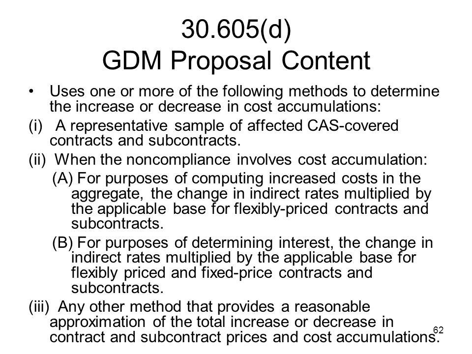 30.605(d) GDM Proposal Content