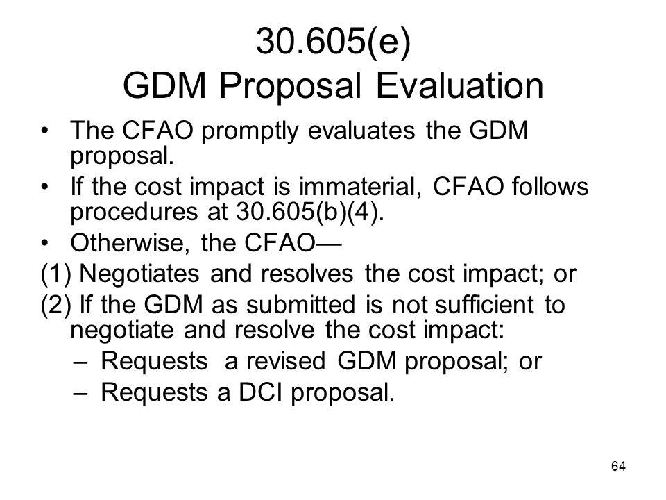 30.605(e) GDM Proposal Evaluation
