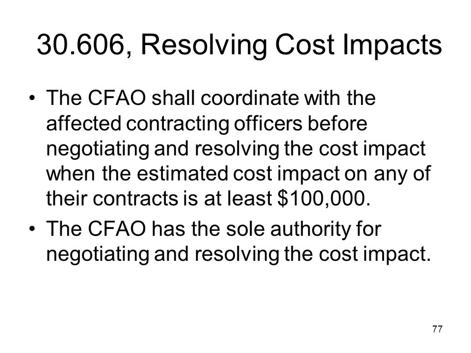 30.606, Resolving Cost Impacts