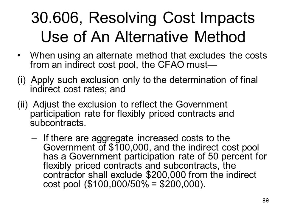 30.606, Resolving Cost Impacts Use of An Alternative Method