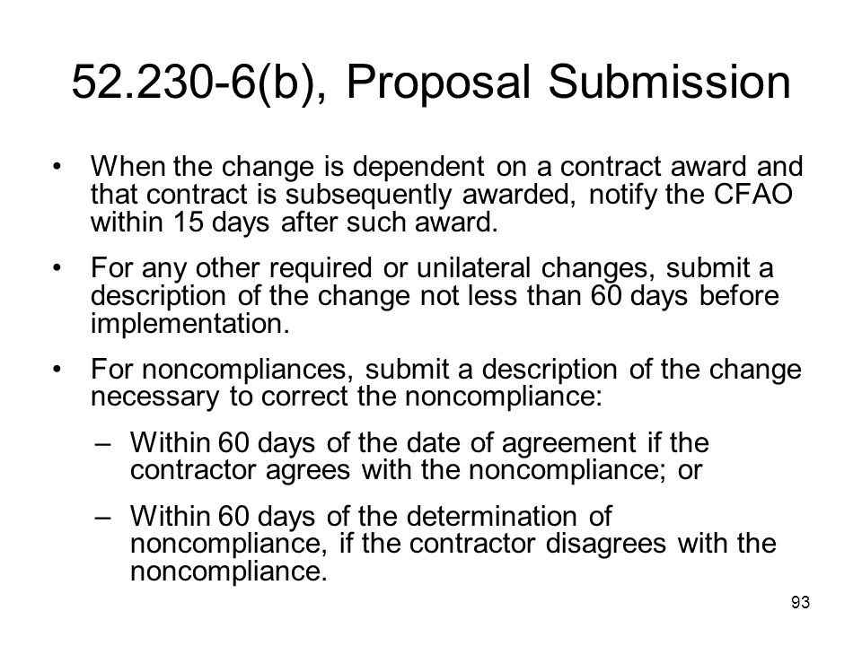 52.230-6(b), Proposal Submission