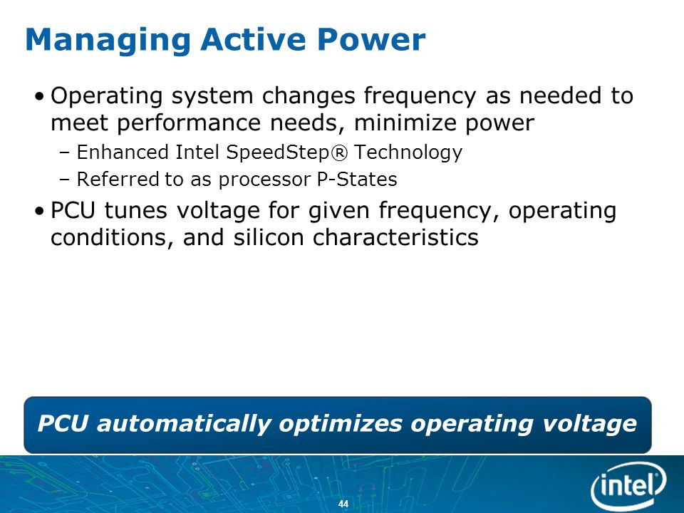 PCU automatically optimizes operating voltage