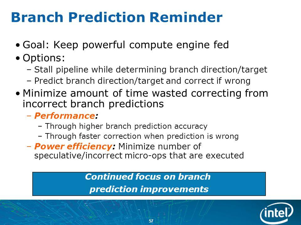 Branch Prediction Reminder