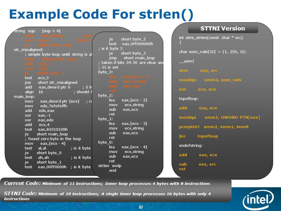 Example Code For strlen()