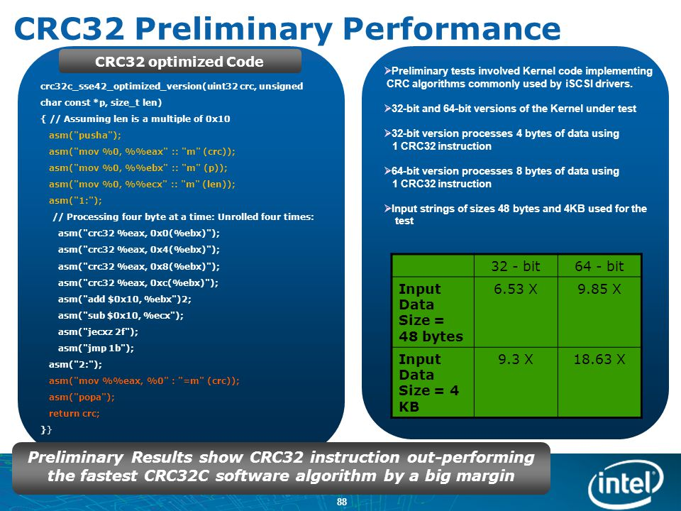 CRC32 Preliminary Performance