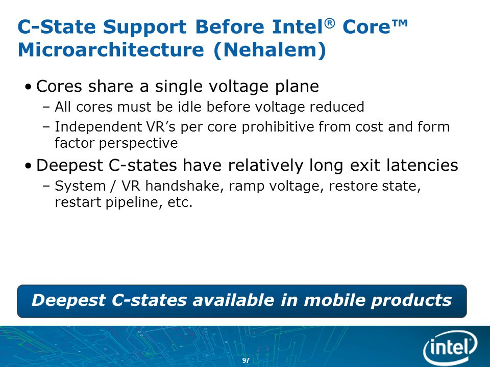 C-State Support Before Intel® Core™ Microarchitecture (Nehalem)