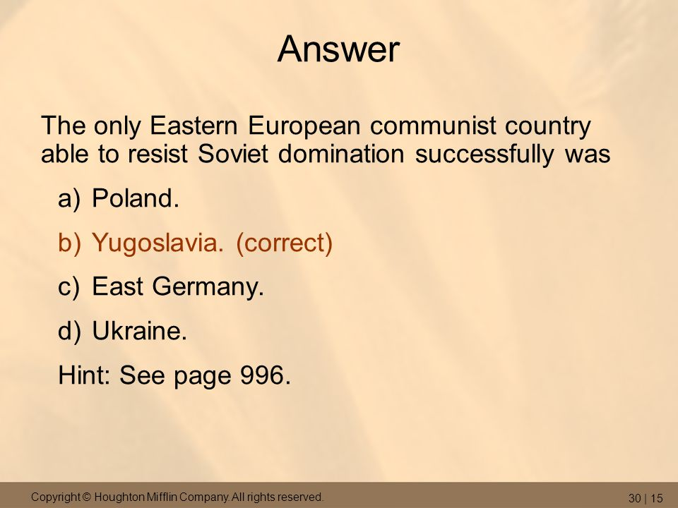 Answer The only Eastern European communist country able to resist Soviet domination successfully was.
