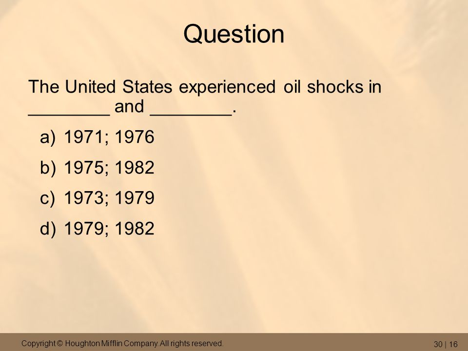 Question The United States experienced oil shocks in ________ and ________. 1971; 1976. 1975; 1982.