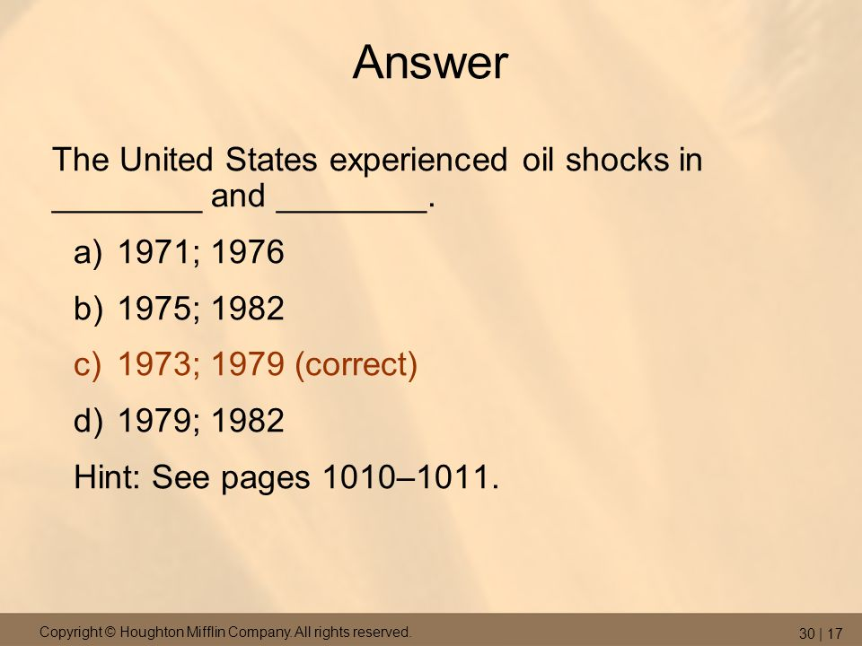 Answer The United States experienced oil shocks in ________ and ________. 1971; 1976. 1975; 1982.
