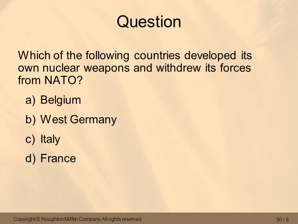 Question Which of the following countries developed its own nuclear weapons and withdrew its forces from NATO