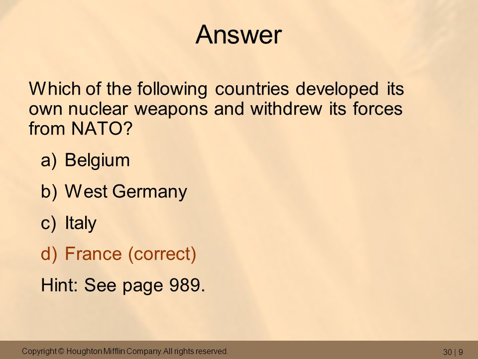 Answer Which of the following countries developed its own nuclear weapons and withdrew its forces from NATO