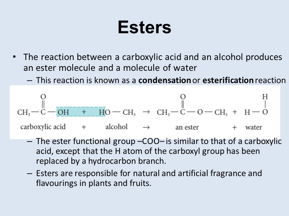 Esters The reaction between a carboxylic acid and an alcohol produces an ester molecule and a molecule of water.