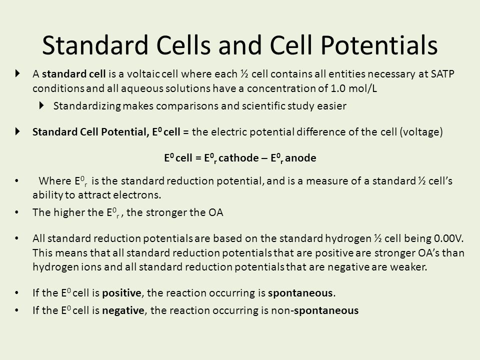 Standard Cells and Cell Potentials