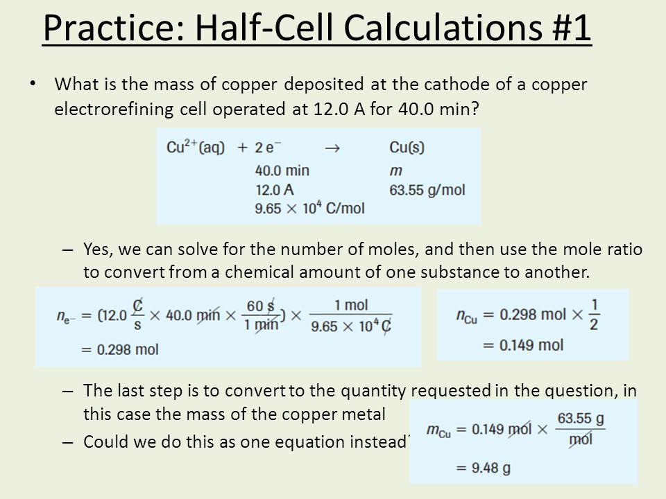 Practice: Half-Cell Calculations #1