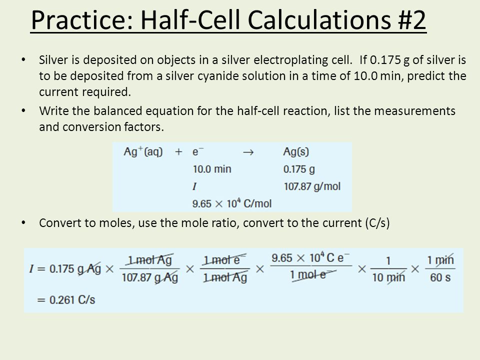 Practice: Half-Cell Calculations #2