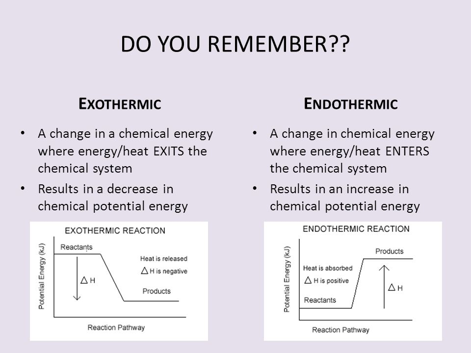 DO YOU REMEMBER Exothermic Endothermic