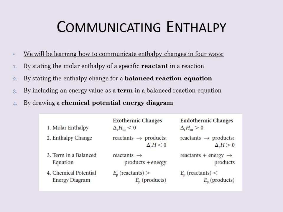 Communicating Enthalpy