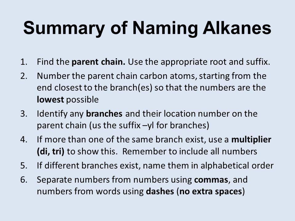 Summary of Naming Alkanes