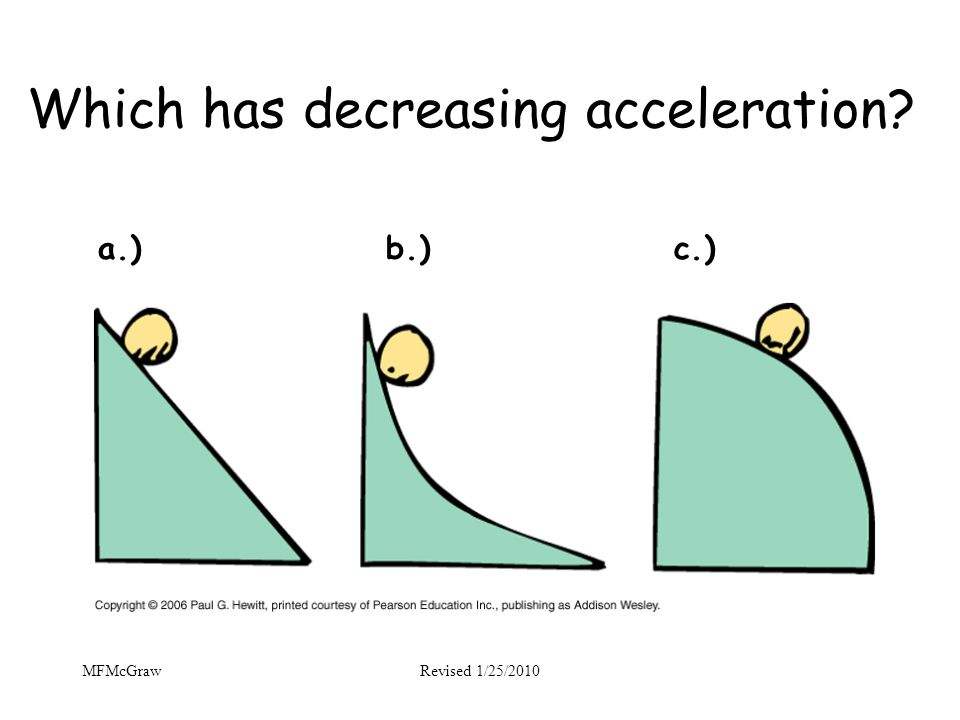 Which has decreasing acceleration