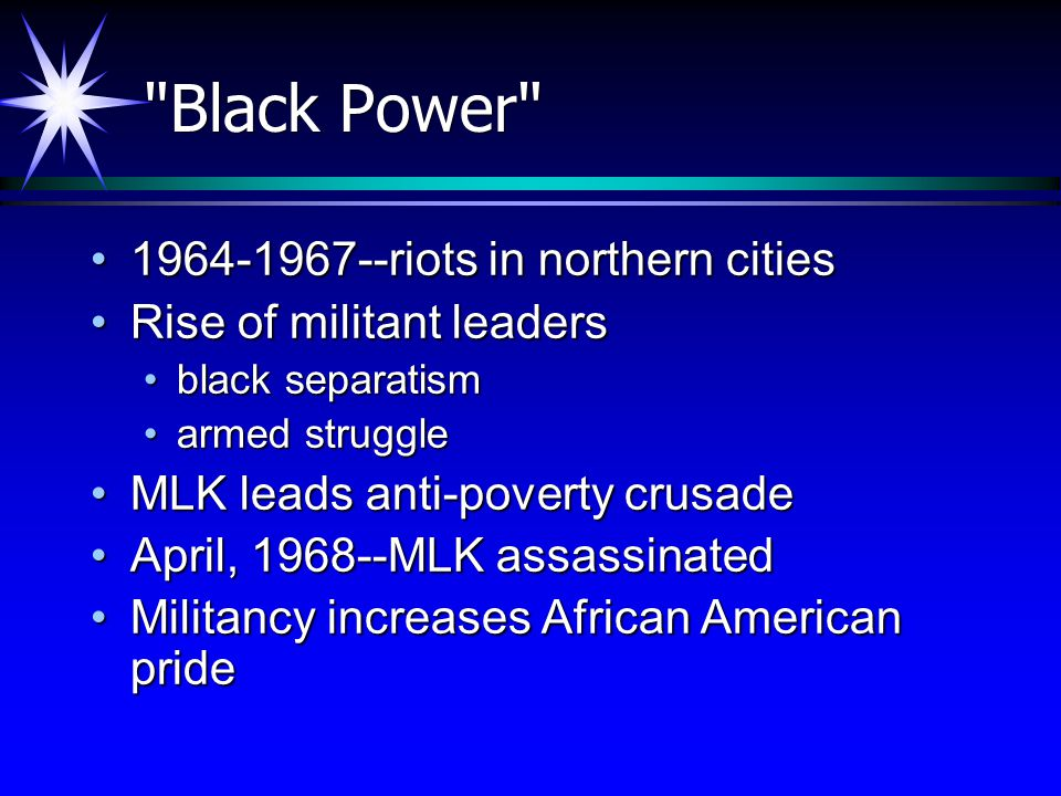 Black Power 1964-1967--riots in northern cities