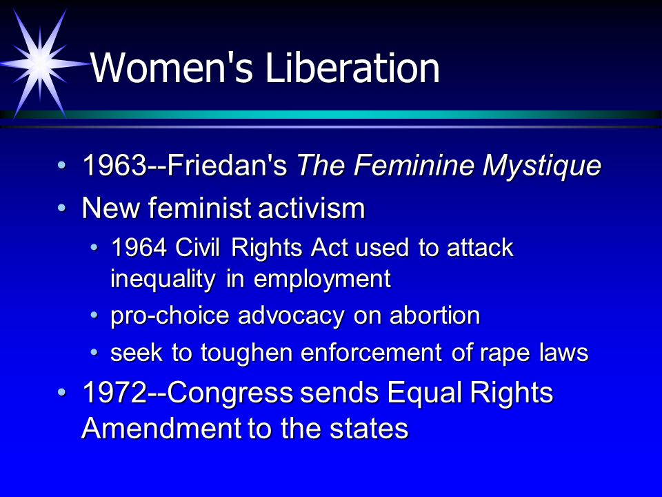 Women s Liberation 1963--Friedan s The Feminine Mystique
