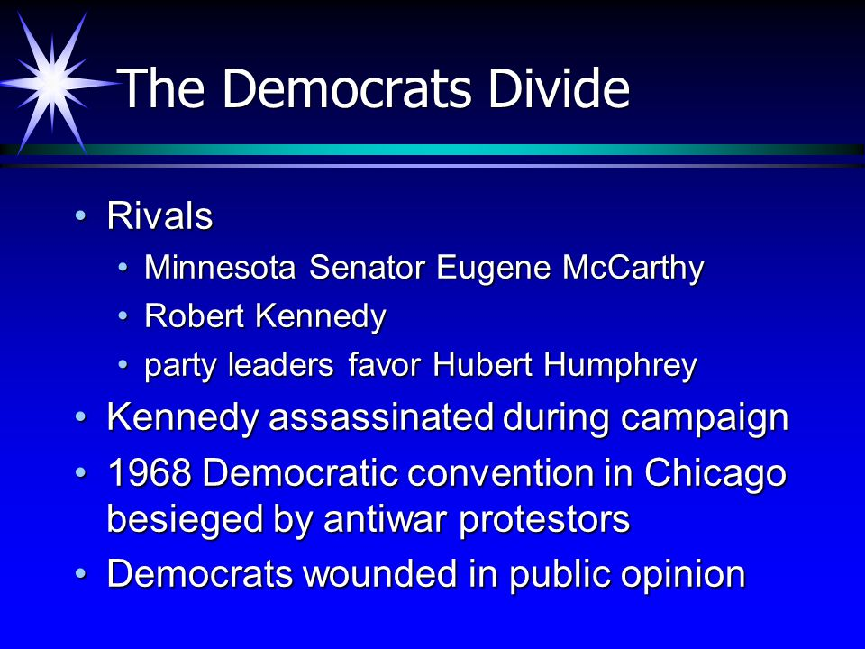 The Democrats Divide Rivals Kennedy assassinated during campaign