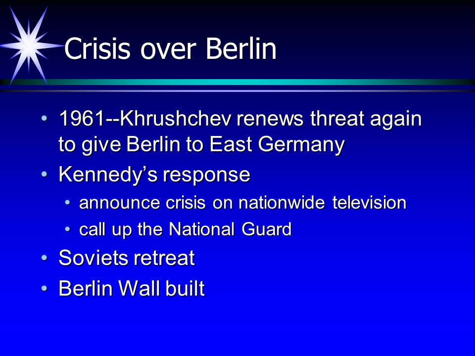 Crisis over Berlin 1961--Khrushchev renews threat again to give Berlin to East Germany. Kennedy's response.