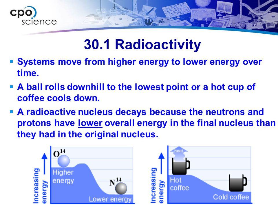 30.1 Radioactivity Systems move from higher energy to lower energy over time.