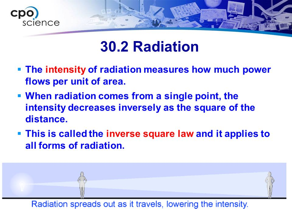 30.2 Radiation The intensity of radiation measures how much power flows per unit of area.